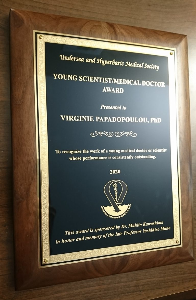 Dr. Virginie Papadopoulou wins Young Scientist/Medical Doctor Award!